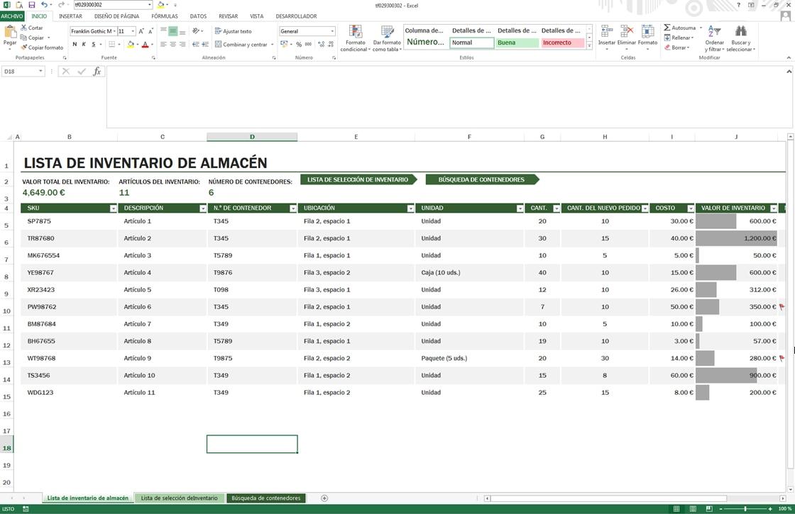 El control de stock en Excel implica una gestión manual de la entrada y salida de referencias en el almacén