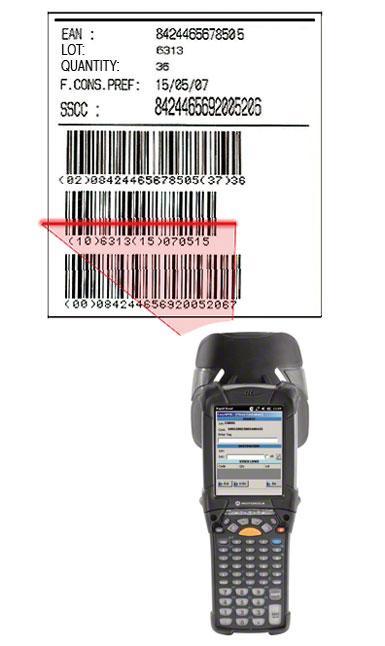 Etiqueta con código de barras EAN-128 en la que se identifica la estiba, el producto que contiene y las características del mismo.