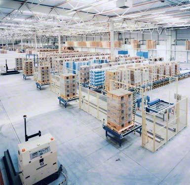 Búfer de pedidos preparados en despachos con clasificación automática.