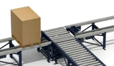 Transferencia mixta de rodillos y cadenas
