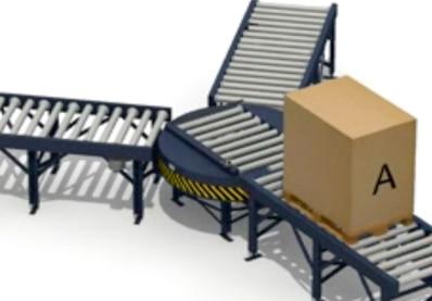 Transportador giratorio de cadenas o rodillos